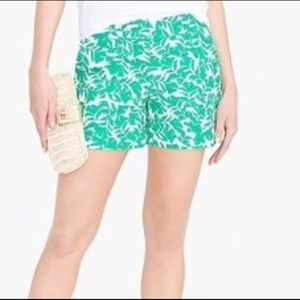 J. Crew Factory Outlet Green & White Floral Shorts